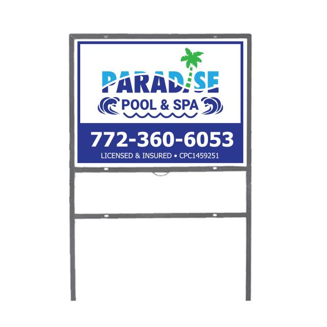 Yard Stake Sign Paradise Pool & Spa